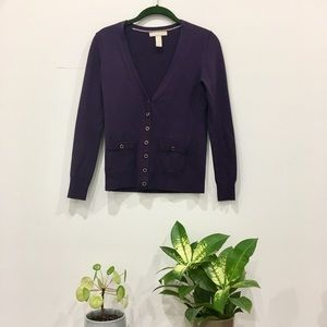 Banana Republic Purple V Neck Cardigan - Petite XS